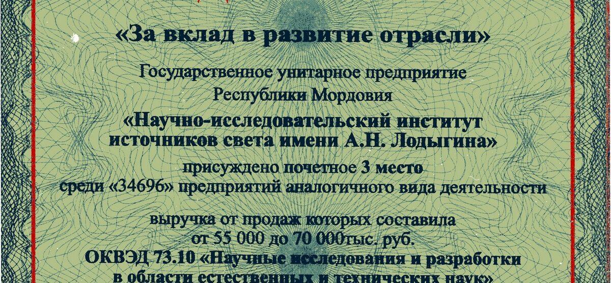 НИИИС ЗАНИМАЕТ 3 МЕСТО «ЗА ВКЛАД В РАЗВИТИЕ ОТРАСЛИ»